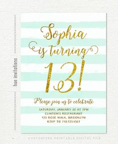 13th birthday invitations girl mint stripes gold by hueinvitations