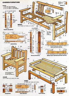 #247 English Garden Furniture Plans - Outdoor Furniture Plans and Projects