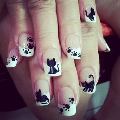Pick your favorite nail art design and impress your friends this coming Halloween! Cat Nail Art, Cat Nails, Shellac Nails, Nail Manicure, Fancy Nails, Pretty Nails, Cat Nail Designs, Nails For Kids, Beautiful Nail Art