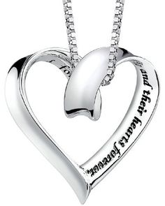 """Sterling Silver """"A Mother Holds Her Childs Hand For A Short While And Their Hearts Forever"""" Heart Pendant  18"""""""
