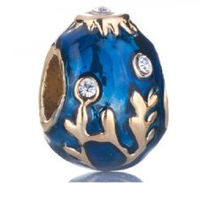 22k Gold Plated Sapphire Enamel Clear White Crystal Family Tree Of Life Easter Faberge Egg Bead