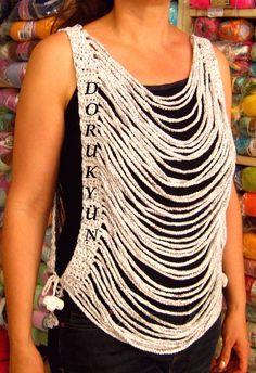 Crochet Poncho, Crochet Jacket, Crochet Stitches, Crochet Patterns, Crochet Tank Tops, Crochet Shirt, Mode Crochet, Crochet Fashion, Crochet Accessories