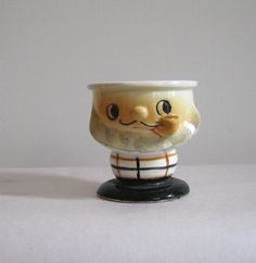 Striped Suit Bearded Man Ceramic Egg Cup and proof the egg cup men aren't all young.