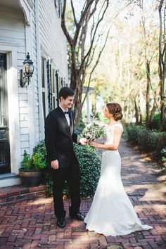 First look! See more on Savannah Soiree. http://www.savannahsoiree.com/journal/black-white-wedding-at-the-brice