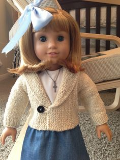 Ravelry: Sara American Girl doll casual cardigan pattern by Amanda Childs