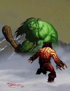 The Hulk vs. Wolverine - thesilvabrothers.deviantart.com