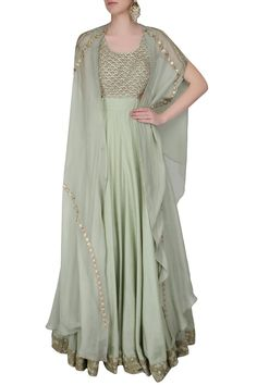 Mint green dori thread embroidered anarakali with split sleeves draped dupatta available only at Pernia's Pop Up Shop.