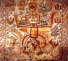 An ancient textile from the Paracas culture of Perú depicting a figure in axe headdress surrounded by Huachuma plants. The Huachuma cactus represents perhaps the longest-used of the sacred holistic healing plants of South America.  The ceremonial use of Huachuma for healing, magical and divining purposes has been a continuous tradition in Perú for well over 3,000 years and continues today