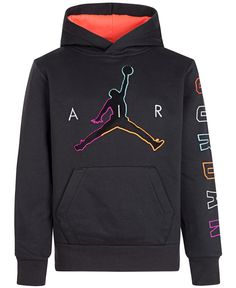 Fun color adds fresh style to Jordan's fleece hoodie, with a totally on-trend fuzzy chenille Jumpman applique at the front. Boys Hoodies, Mens Sweatshirts, Sweater Outfits, Boy Outfits, Jordan Boys, Jordan 11, Jordan Retro, Jordans For Men, Jordans Girls
