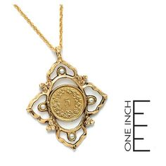 VICTORIAN INSPIRED SWISS COIN PENDANT WITH GLASS PEARLS