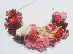 Roses are Red....1920s Romantic Vintage Silk Rosebuds Flower Crown Bridal Frida Headband Antique Headpiece  Millinery Bohemian Bride. $128.00, via Etsy.