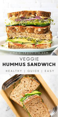 Meet my favorite Hummus Veggie Sandwich recipe filled with summer vegetables and hummus for spread - it's nothing short of simplicity and deliciousness! #healthyrecipes #veganrecipes #plantbased Veggie Sandwich, Hummus Sandwich, Sandwich Recipes, Low Fat Vegan Recipes, Healthy Vegan Snacks, Veggie Recipes, Healthy Recipes, Whole Food Recipes, Lunch Recipes