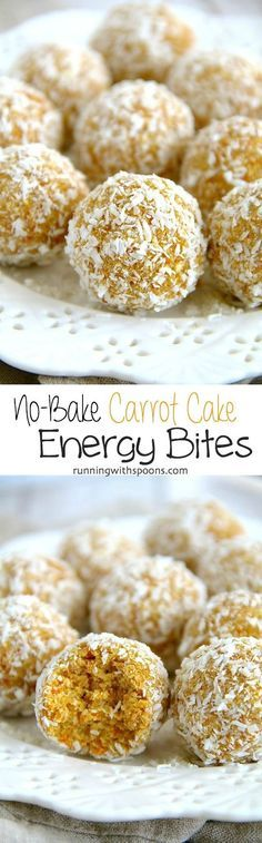 No-Bake Carrot Cake Energy Bites -- easy nut-free energy bites that are gluten-free, vegan, and taste just like little poppable bites of carrot cake! All clean eating ingredients are used for these healthy snack bites. Pin now to make later. Vegan Desserts, Raw Food Recipes, Snack Recipes, Dessert Recipes, Cooking Recipes, Pretzel Recipes, Healthy Recipes, Paleo Dessert, Detox Recipes