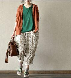 floral  pants / wide leg / linen cotton pants /  loose  by Aolo, $53.00