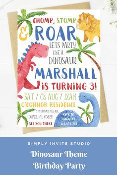 This Chomp, Stom & Roar - Lets Party Like A Dinosaur Boys' Birthday Party Invite is perfect for a boys' birthday party. This easy to edit birthday party invitation will be a great addition to your little one's Dinosaur Birthday Party Theme. Dinosaur Birthday Invitations, Dinosaur Birthday Party, Boy Birthday Parties, Baby Birthday, Birthday Ideas, Diy Invitations, Invite, Birthday Template, Toddlers