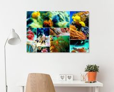 Colorful collection of assorted tropical sea creatures. Multiple small paintings arranged in one larger image to provide a statement piece for a subject you are passionate about. This image depicts an assortment of under water scenes of the fish and plant life in the Caribbean sea.