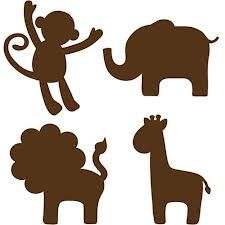 Espresso Brown Jungle Animal wall art will match with any decor and is especially chic in a nursery. These wall decals capture a lion, an elephant, and a giraffe in the cutest of poses, guaranteed to Mais Baby Silhouette, Elephant Silhouette, Silhouette Clip Art, Silhouette Images, Animal Silhouette, Jungle Animals, Baby Animals, Motif Jungle, Animal Stencil