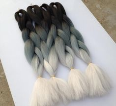 new ombre braids hair black/blue grey/silver grey box braids jumbo texture