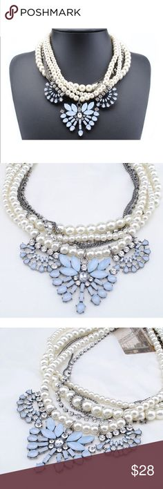 """💠NEW💠 Chandelier Dream Crystal Pearl Necklace Layered by faux pearls, fine chains, delicate white and blue crystal patterns, this beautiful, dressy and hot fashion statement necklace will definitely spark your outfit!! Perfect both for events and everyday outfits💃🏻 💠Length: 18.9"""" + 3.1"""". 💠Weight: 6.2 ounces. 💠Size of the pendant: 3.1"""". 💃🏻Lobster claw closure 💠Materials: resin, rhinestone, lucite, alloy. Jewelry Necklaces"""