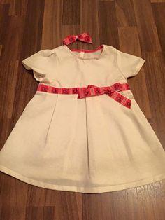 Mädchen Kleid creme rot gr.80 mit haarspange