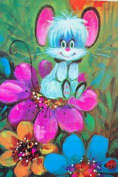 Vintage Retro Kitschy Blue Bird and Mouse Flower by SackLunchTime Art Vintage, Vintage Artwork, Vintage Paintings, Vintage Clip, Vintage Greeting Cards, Vintage Postcards, Halloween Vintage, Art Mignon, Retro Images