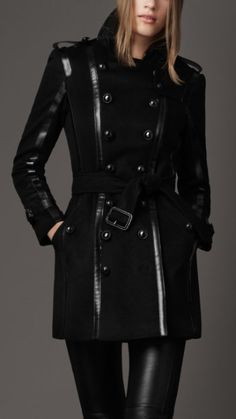 Burberry - Regimental trench coat with statement leather trim