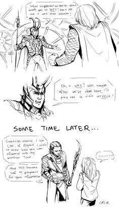 Loki visits Jane, by crimson-sun || Loki Laufeyson, Thor Odinson, Jane Foster || 700x1219 || #fanart #fosterson || Then they sat down, had some cocoa, ate that banana loaf, and bitched about Thor the whole evening through.