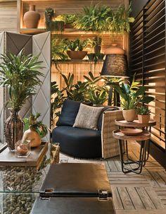 paisagismo — Cosy Home Outdoor Garden Rooms, Outdoor Living, Outdoor Decor, Outdoor Spaces, Apartment Balcony Decorating, Apartment Balconies, Terrace Design, Garden Design, House Design