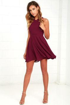 Lulus Exclusive! Our hearts will belong to the Forevermore Burgundy Skater Dress 'til the end of time! Semi-sheer shoulder straps form a modified halter neckline atop a fitted bodice with princess seams. A flirty skater skirt, composed of lightweight Georgette, flares below a banded waist. Hidden back zipper/clasp.