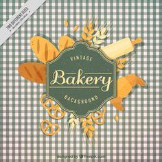 Bakery Icon, Dark Wood Background, Vintage Bakery, Gift Box Design, Bakery Logo Design, Food Drawing, Menu Template, Packaging Design, Vector Free