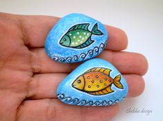 Orange  Green Blue  Fishes Painted Stones  by ShebboDesign on Etsy, $25.00