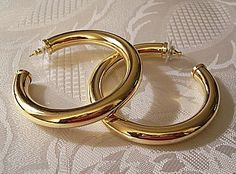 Monet Hoop Pierced Earrings Gold Tone Vintage Open Extra Large Prettyjewelrythings