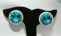 Vintage Big Rivoli Rhinestone Clip on EARRINGS Large costume jewelry