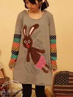 bunny handwriting mixed sleeve dress $37 #asianicandy #kawaii #asianfashion #chicstyle #japanese #kfashion #juniorfashion #teenfashion #sweet #morigirl
