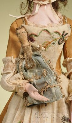 Antique, Queen Anne Lady Doll, England, c.1750, Carved wood.