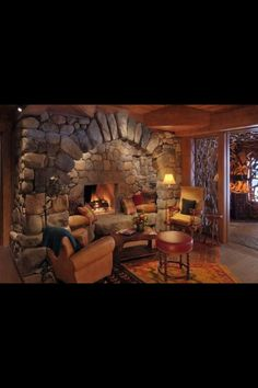 I like the stones and shape of this fireplace.