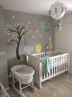 Jungle Nursery Wall Stickers Enchanted Interiors Premium Self Adhesive Fabric Nursery Wall Decals Baby Nursery: 27 Easy and Cozy Baby Room Ideas for Girl and Boys Baby Bedroom, Baby Boy Rooms, Baby Room Decor, Baby Boy Nurseries, Baby Cribs, Kids Bedroom, Baby Room Boys, Baby Room Ideas For Boys, Baby Boy Bedroom Ideas