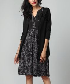 Look at this #zulilyfind! Charcoal Floral Button-Front Fit & Flare Dress #zulilyfinds