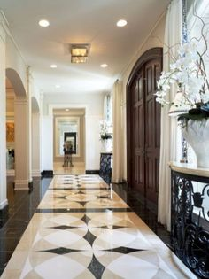 """Marble Floor Design /Palm-Beach-House-traditional-entry-miami """" Source by Entryway Flooring, Hall Flooring, Entryway Decor, Tile Entryway, Flooring Ideas, Home Design, Floor Design, Diy Design, Design Ideas"""