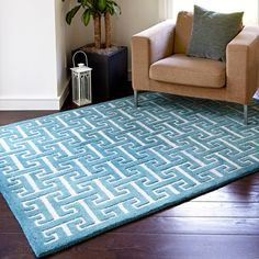 Hand-tufted Logan Teal Wool Rug (9'3 x 13') | Overstock.com Shopping - Top Rated Alexander Home Oversized Rugs