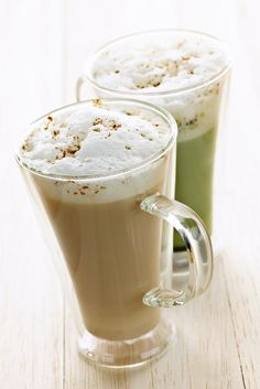 Warm smoothies for the winter!! Two specialty tea latte beverages of chai and matcha teas