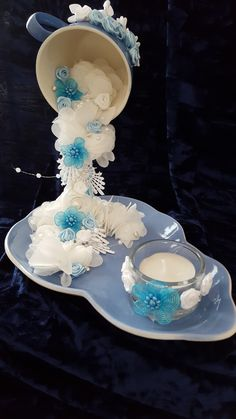 Floating Cup and Saucer with Tea Light Candle