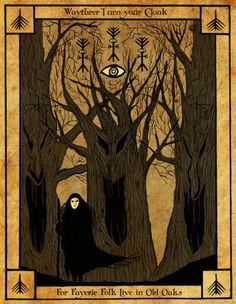 """Book of Shadows: Wayfarer, Turn Your Cloak page; Illustration by Stephanie Houser for Robin Artisson's """"The Elphillock Gramarye. Dark Fantasy Art, Dark Art, Wicca, Magick, Traditional Witchcraft, Arte Obscura, Occult Art, World Of Darkness, Witch Art"""