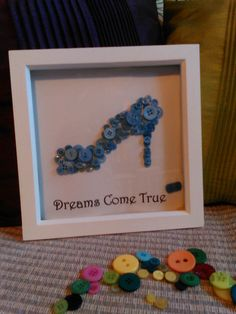 Handmade Framed Button Art, Glass Slipper, Cinderella, Dreams Come True
