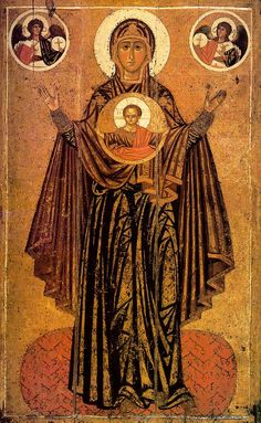 Our Lady of the great Panagiya (Orans position) Russian icon from the first third of the 13 century Religious Icons, Religious Art, Catholic Art, Religion, Saint Esprit, Russian Icons, Blessed Mother Mary, Byzantine Art, Canvas Prints