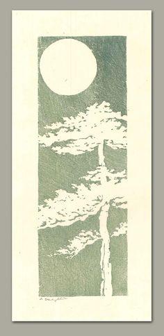 Andrea Starkey: Moonlight Tree Linocut Print