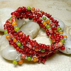 Red Coral with Multi Color Mother of Pearl MultiWrapped Bracelet | KatsAllThat - Jewelry on ArtFire