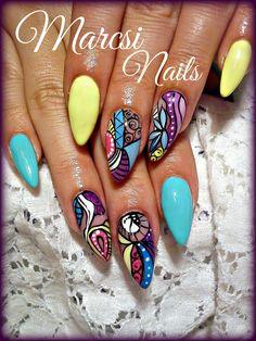 Geometric nails/ abstract colorful nail art/ Summer nail art design