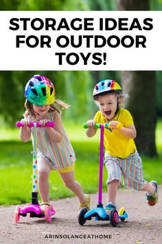 Here are some great ideas for how to store outdoor toys! Bins, baskets, and more for garages and sheds. These ideas will help you organize outdoor and sport gear for kids. Best Scooter For Kids, Kids Scooter, Outdoor Toy Storage, Outdoor Toys, 4 Kids, Kids Toys, Children, Baby Girl Names, Baby Boy