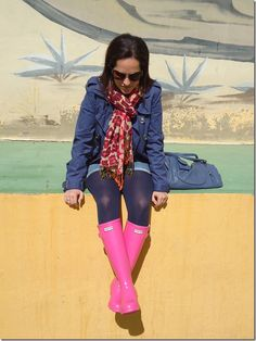 Looking really yummy wearing girlie pink Wellingtons